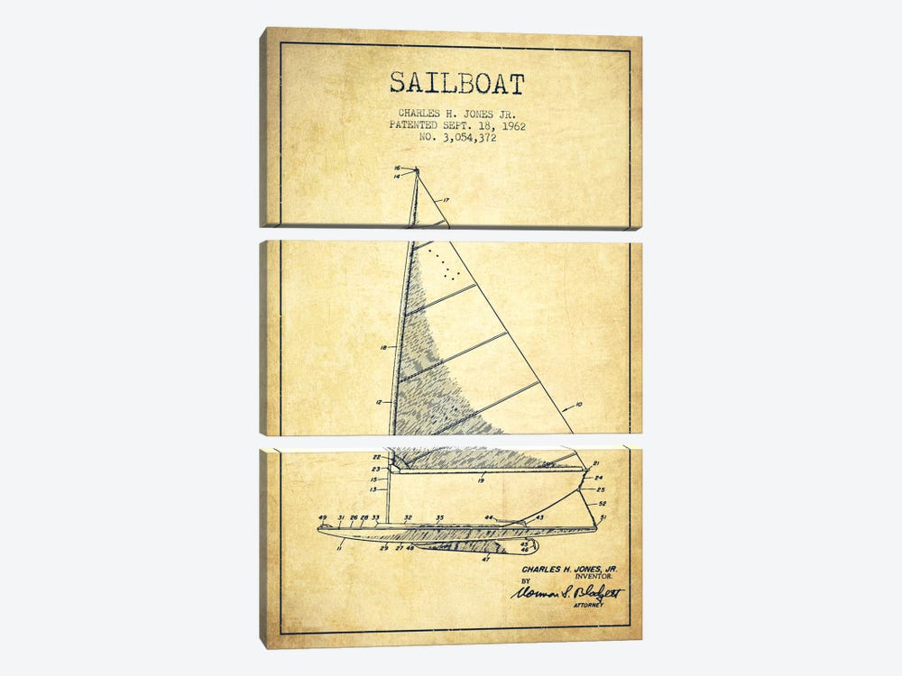 Sailboat 2 Vintage Patent Blueprint by Aged Pixel 3-piece Canvas Artwork