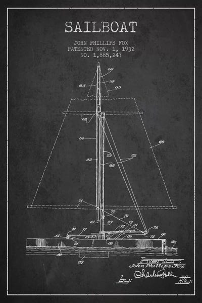 Sailboat 1 charcoal patent blueprint art print by aged pixel icanvas canvas malvernweather Gallery