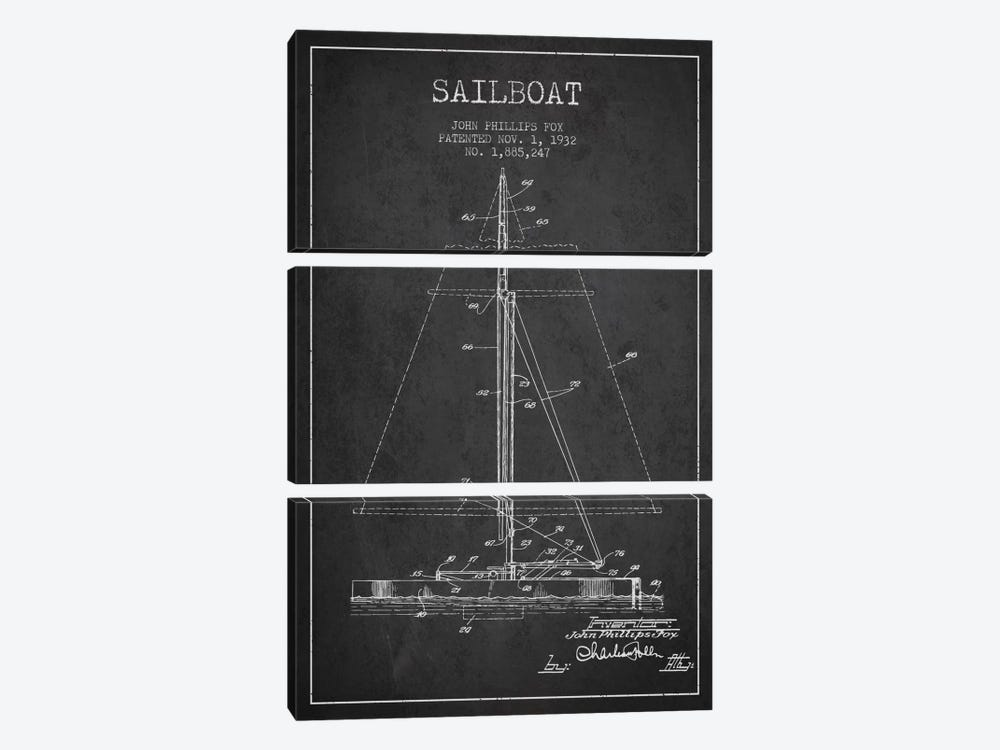 Sailboat 1 Charcoal Patent Blueprint by Aged Pixel 3-piece Canvas Art