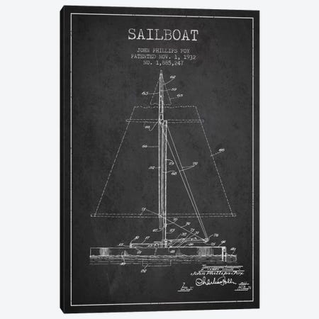Sailboat 1 Charcoal Patent Blueprint Canvas Print #ADP2730} by Aged Pixel Canvas Wall Art