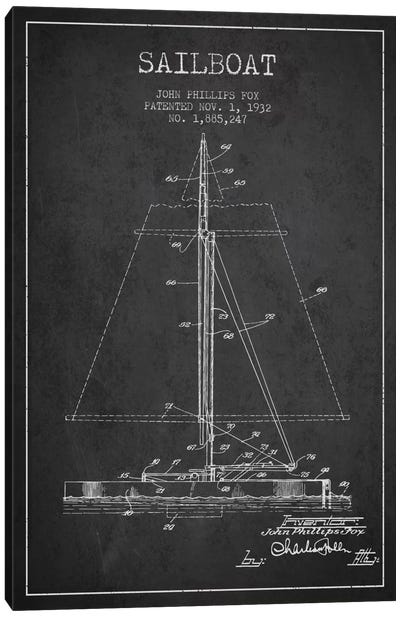 Sailboat 1 Charcoal Patent Blueprint Canvas Art Print