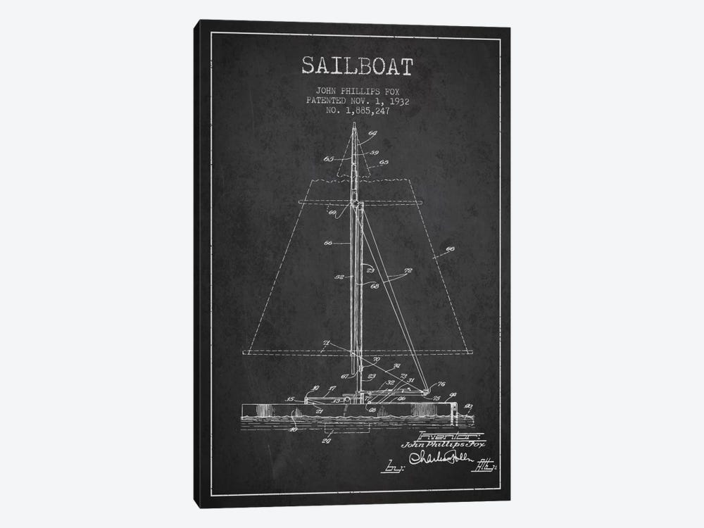 Sailboat 1 Charcoal Patent Blueprint by Aged Pixel 1-piece Canvas Wall Art