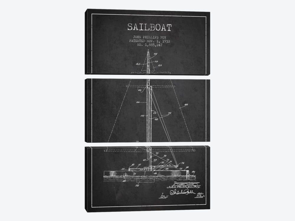 Sailboat 1 Charcoal Patent Blueprint by Aged Pixel 3-piece Canvas Art