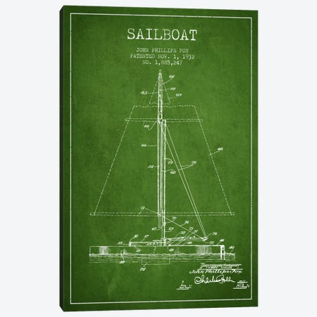 Sailboat 1 Green Patent Blueprint Canvas Print #ADP2731} by Aged Pixel Canvas Art
