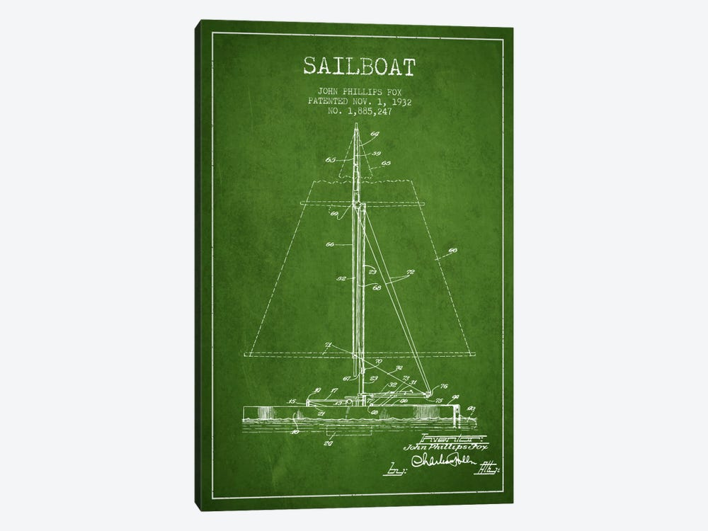 Sailboat 1 Green Patent Blueprint by Aged Pixel 1-piece Art Print