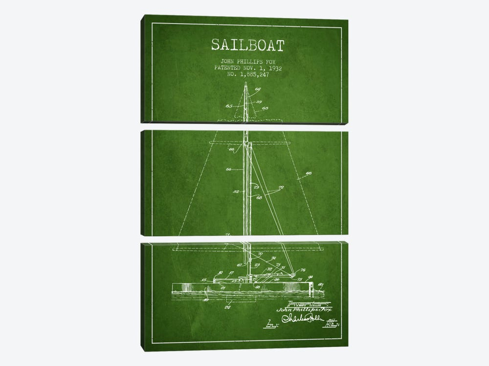 Sailboat 1 Green Patent Blueprint by Aged Pixel 3-piece Canvas Art Print
