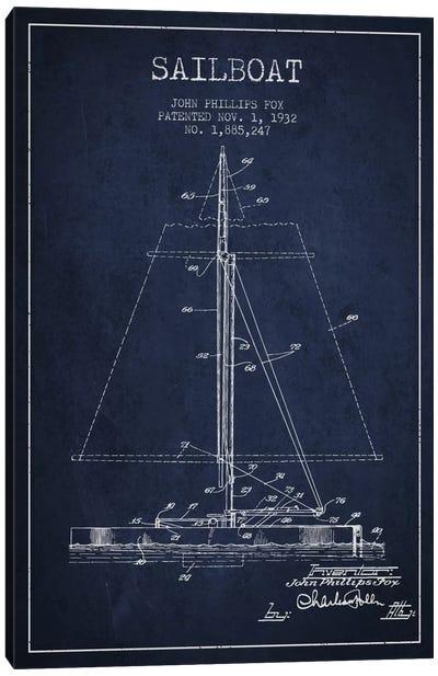 Sailboat 1 Navy Blue Patent Blueprint Canvas Print #ADP2732