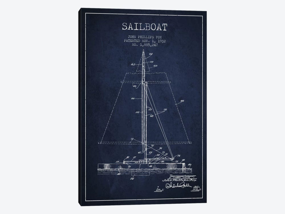 Sailboat 1 Navy Blue Patent Blueprint by Aged Pixel 1-piece Canvas Art