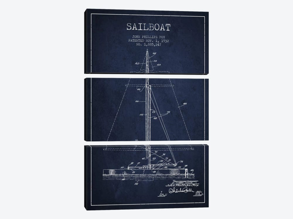 Sailboat 1 Navy Blue Patent Blueprint by Aged Pixel 3-piece Canvas Wall Art