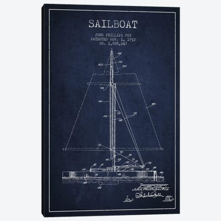 Sailboat 1 Navy Blue Patent Blueprint Canvas Print #ADP2732} by Aged Pixel Canvas Artwork