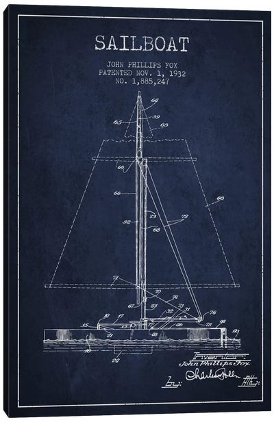 Sailboat 1 Navy Blue Patent Blueprint Canvas Art Print