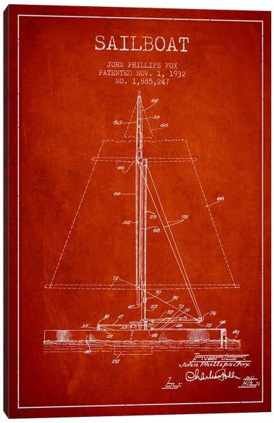 Sailboat 1 Red Patent Blueprint Canvas Print #ADP2733