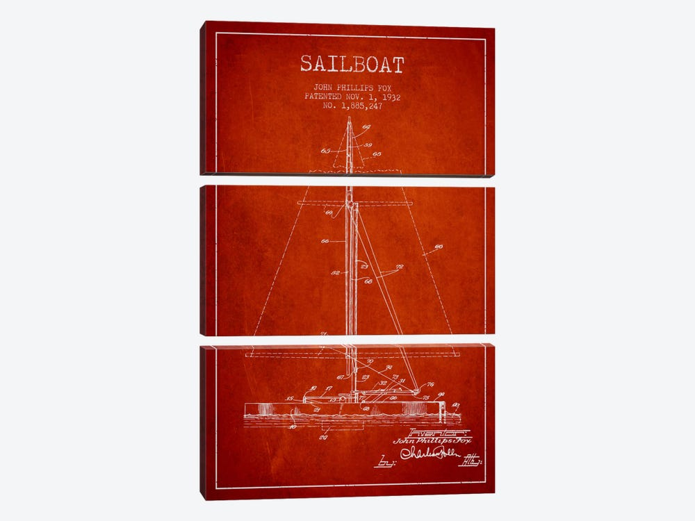 Sailboat 1 Red Patent Blueprint by Aged Pixel 3-piece Canvas Print