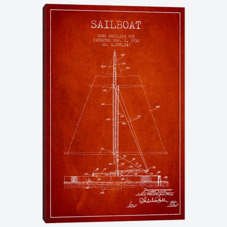Sailboat 1 Red Patent Blueprint Canvas Print #ADP2733} by Aged Pixel Canvas Artwork