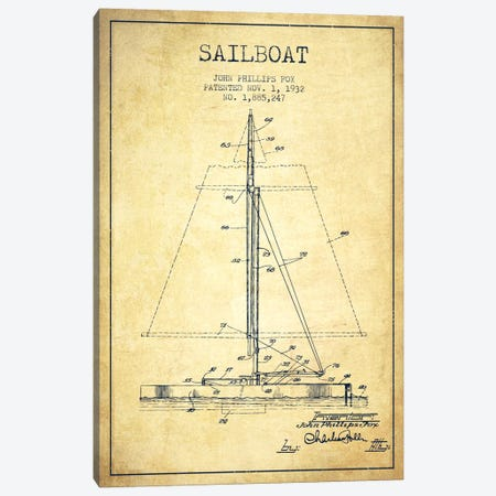 Sailboat 1 Vintage Patent Blueprint Canvas Print #ADP2734} by Aged Pixel Canvas Print