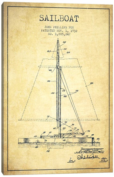 Nautical blueprints canvas art prints icanvas sailboat 1 vintage patent blueprint canvas art print malvernweather Gallery