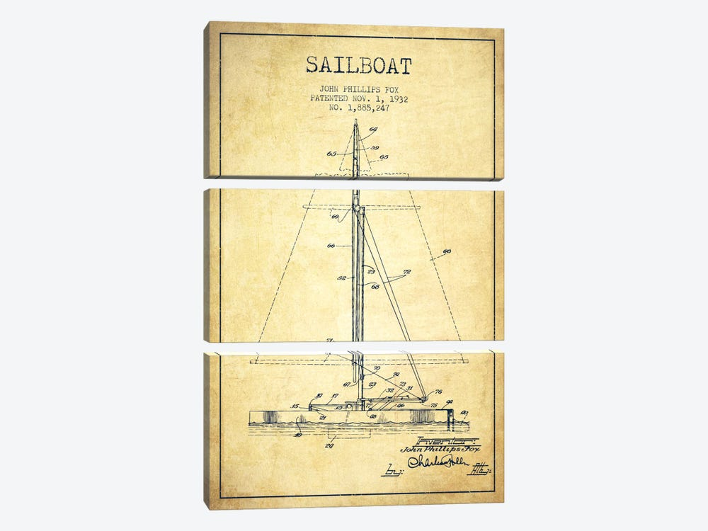 Sailboat 1 Vintage Patent Blueprint by Aged Pixel 3-piece Canvas Artwork