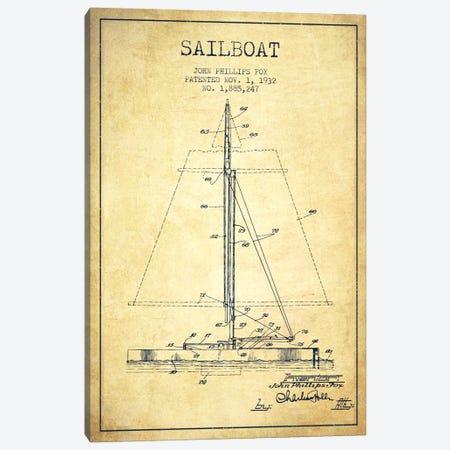 Sailboat 1 Vintage Patent Blueprint Canvas Print #ADP2734} by Aged Pixel Canvas Print