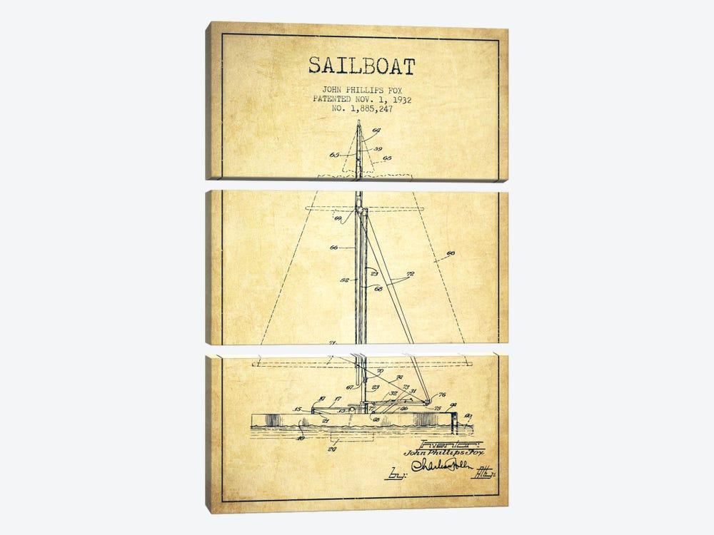 Sailboat 1 Vintage Patent Blueprint by Aged Pixel 3-piece Canvas Artwork