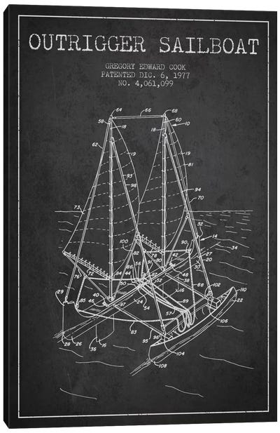Outrigger Sailboat Charcoal Patent Blueprint Canvas Print #ADP2735