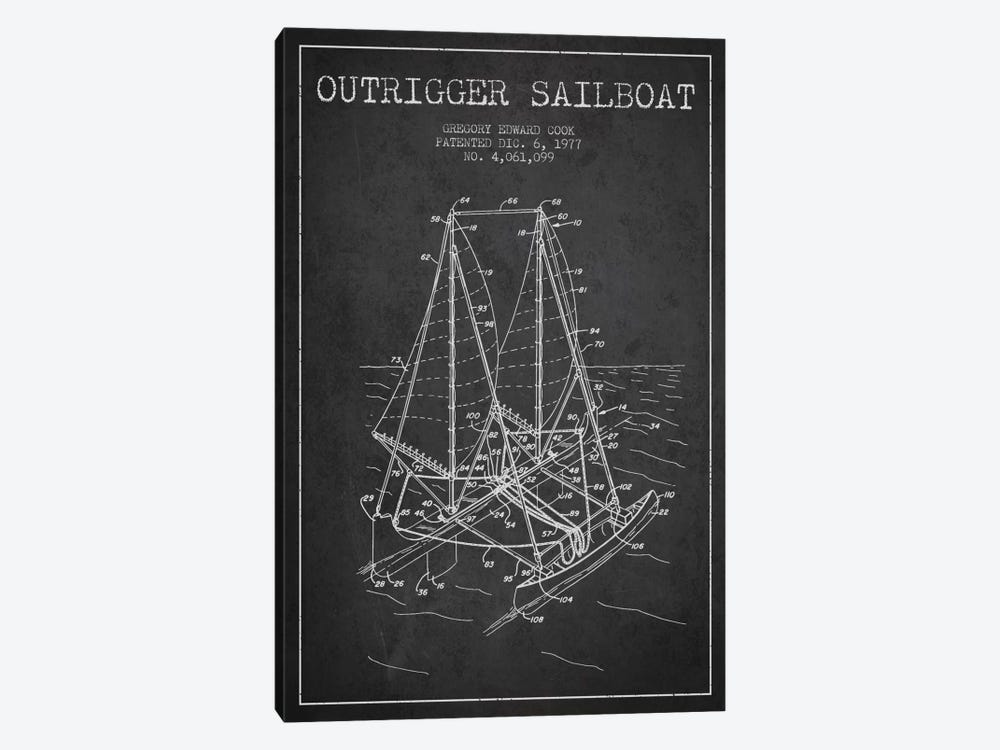 Outrigger Sailboat Charcoal Patent Blueprint by Aged Pixel 1-piece Canvas Art Print