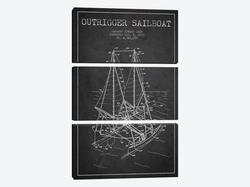 Outrigger Sailboat Charcoal Patent Blueprint by Aged Pixel 3-piece Art Print