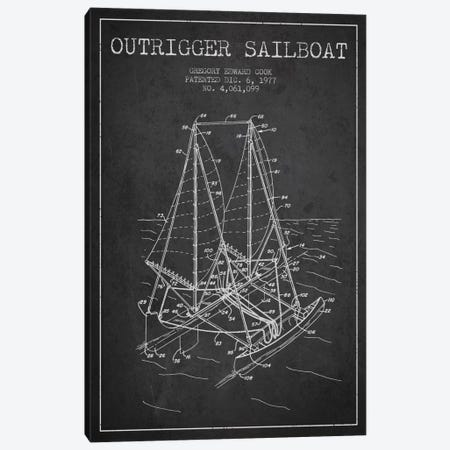 Outrigger Sailboat Charcoal Patent Blueprint Canvas Print #ADP2735} by Aged Pixel Canvas Print