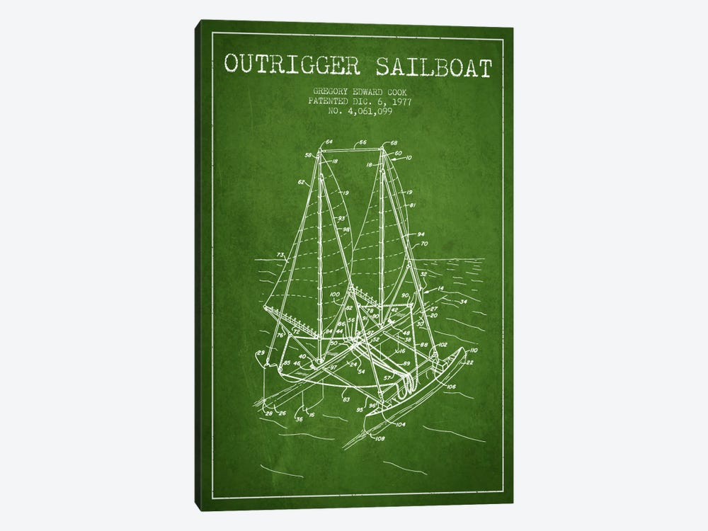Outrigger Sailboat Green Patent Blueprint 1-piece Canvas Art