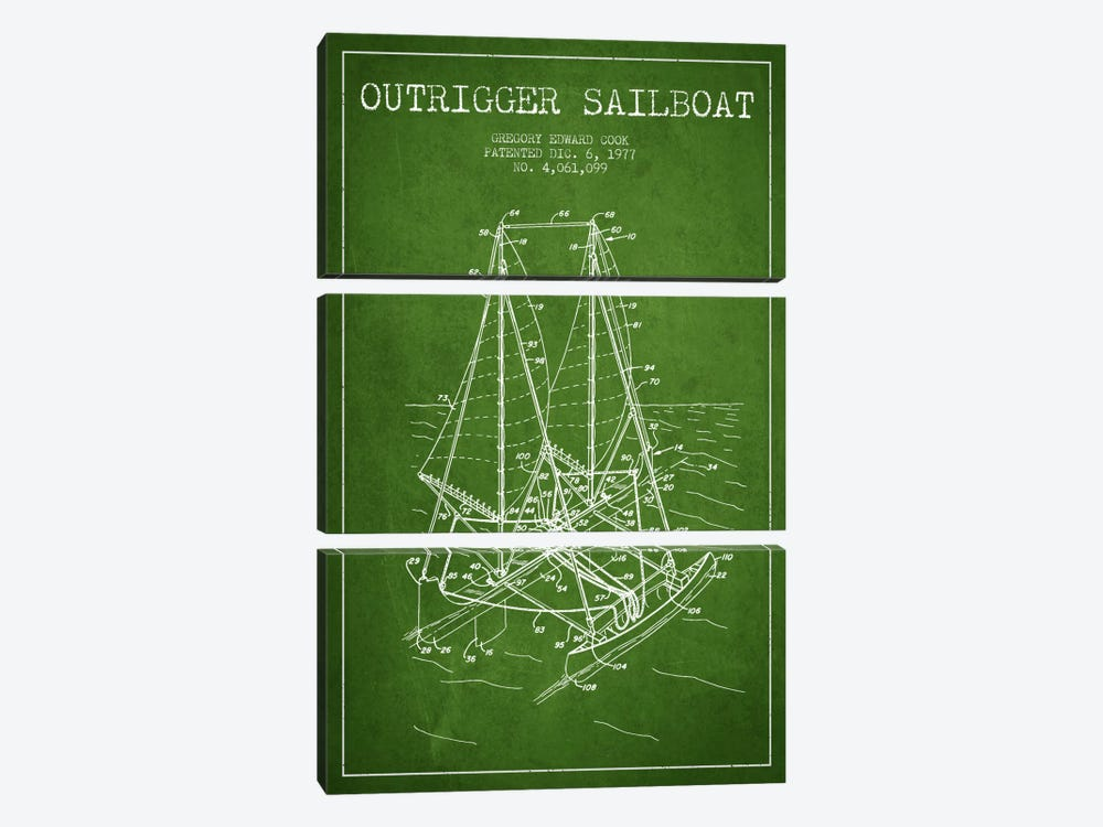 Outrigger Sailboat Green Patent Blueprint by Aged Pixel 3-piece Canvas Art