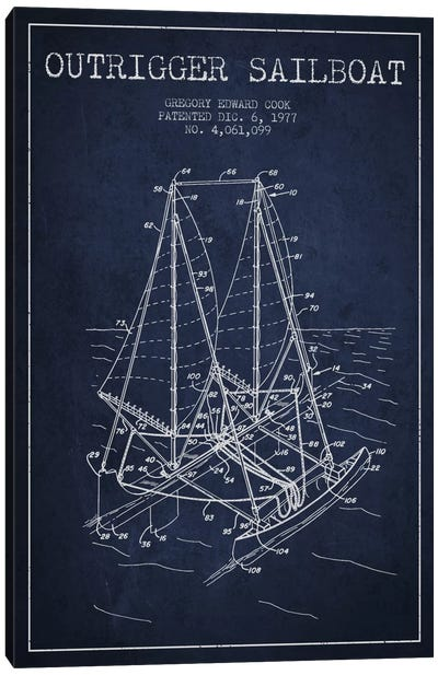 Outrigger Sailboat Navy Blue Patent Blueprint Canvas Print #ADP2737