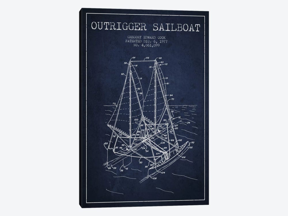 Outrigger Sailboat Navy Blue Patent Blueprint by Aged Pixel 1-piece Canvas Print