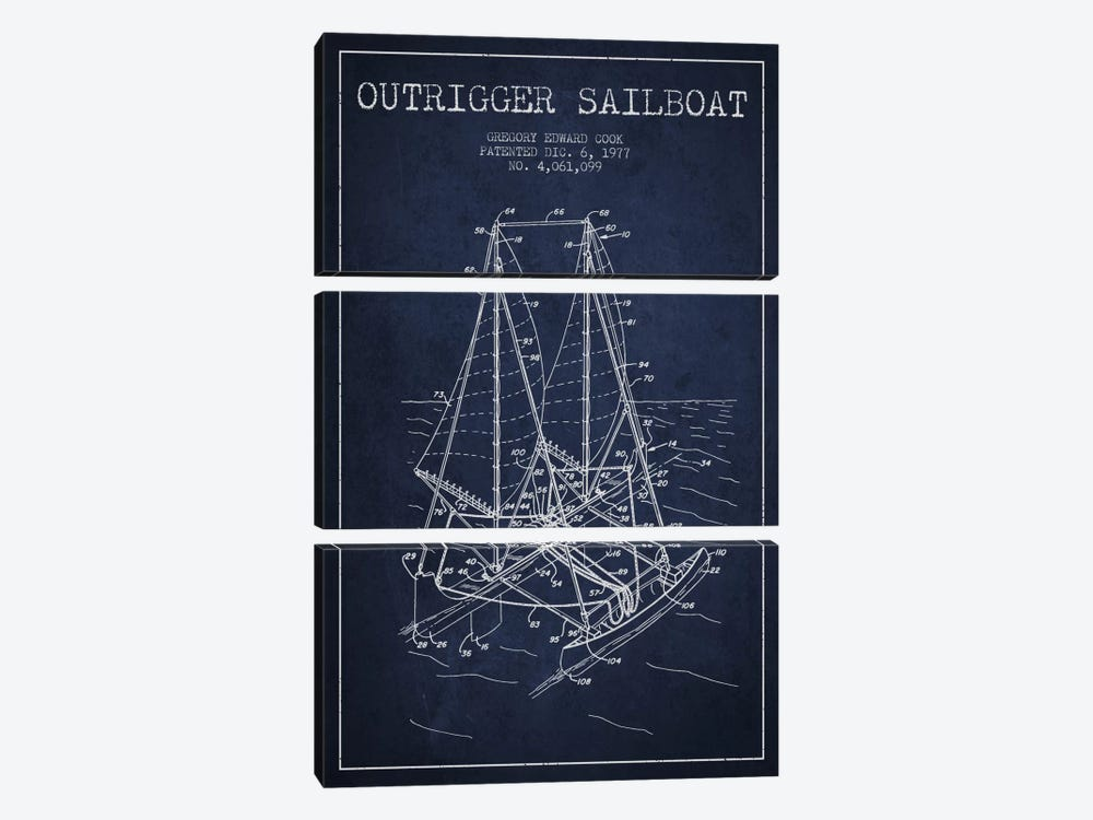 Outrigger Sailboat Navy Blue Patent Blueprint by Aged Pixel 3-piece Canvas Art Print
