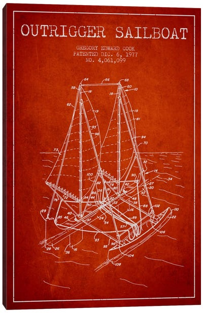 Outrigger Sailboat Red Patent Blueprint Canvas Art Print