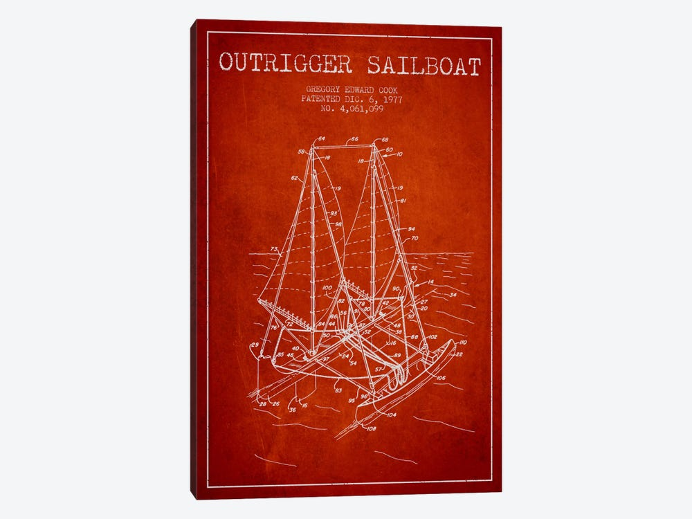 Outrigger Sailboat Red Patent Blueprint 1-piece Canvas Wall Art