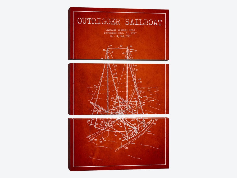 Outrigger Sailboat Red Patent Blueprint by Aged Pixel 3-piece Canvas Artwork