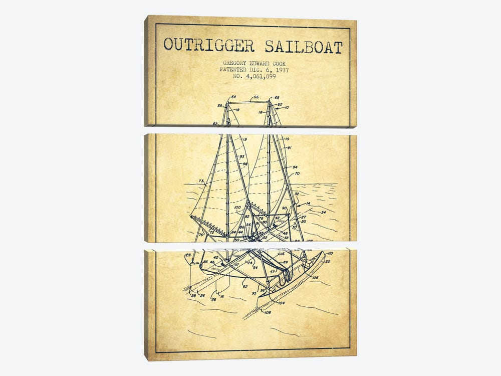 Outrigger Sailboat Vintage Patent Blueprint by Aged Pixel 3-piece Art Print