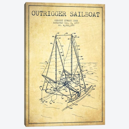 Outrigger Sailboat Vintage Patent Blueprint Canvas Print #ADP2739} by Aged Pixel Canvas Artwork