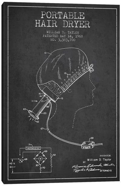 Portable Hair Dryer Charcoal Patent Blueprint Canvas Art Print
