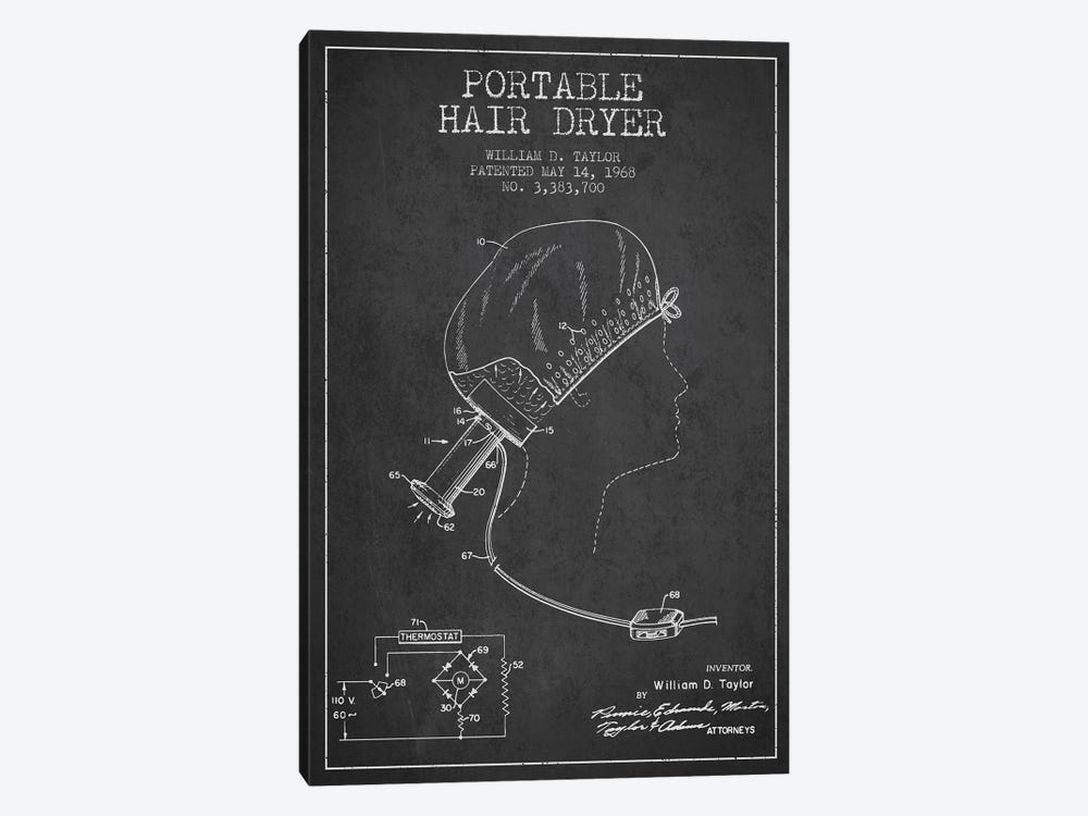 Portable Hair Dryer Charcoal Patent Blueprint by Aged Pixel 1-piece Canvas Art