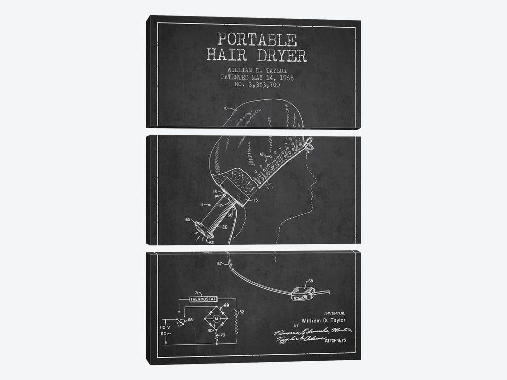 Portable Hair Dryer Charcoal Patent Blueprint by Aged Pixel 3-piece Canvas Artwork