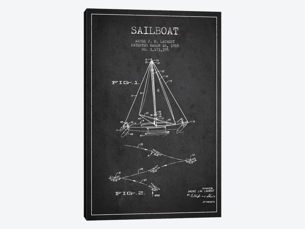 Double Ended Sailboat Charcoal Patent Blueprint by Aged Pixel 1-piece Art Print