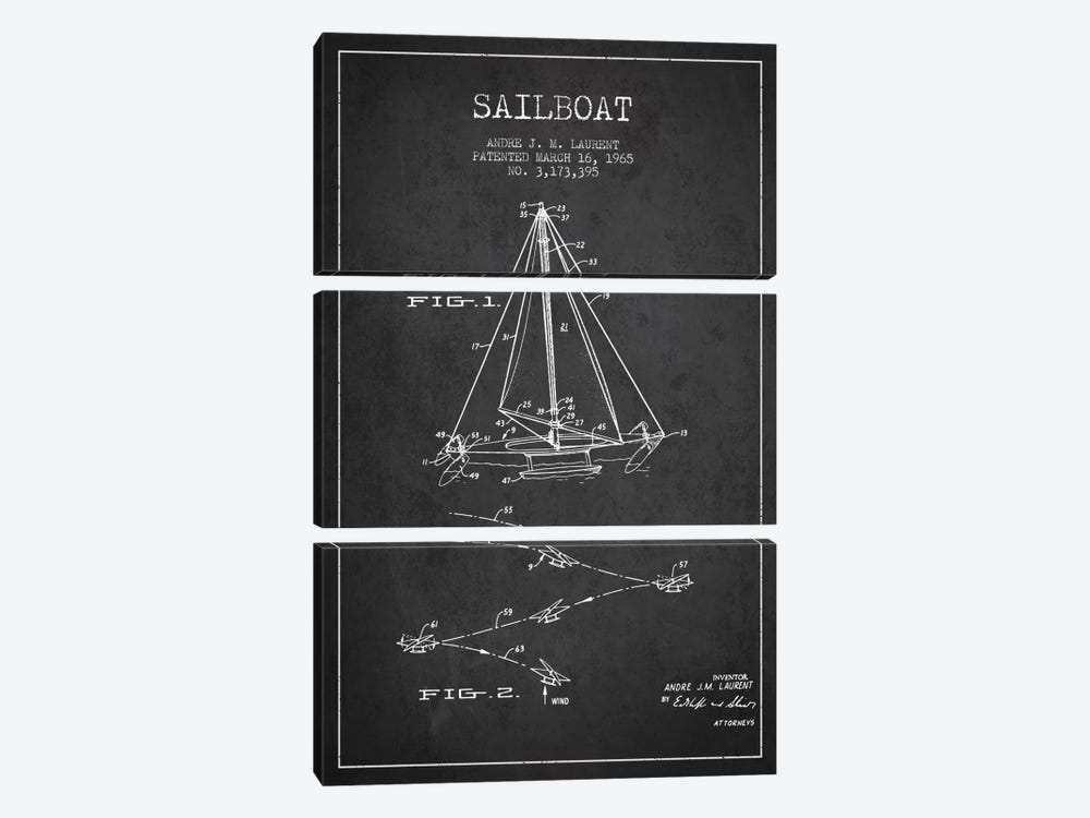 Double Ended Sailboat Charcoal Patent Blueprint by Aged Pixel 3-piece Art Print