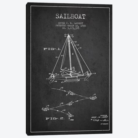 Double Ended Sailboat Charcoal Patent Blueprint Canvas Print #ADP2740} by Aged Pixel Art Print