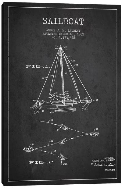 Double Ended Sailboat Charcoal Patent Blueprint Canvas Art Print