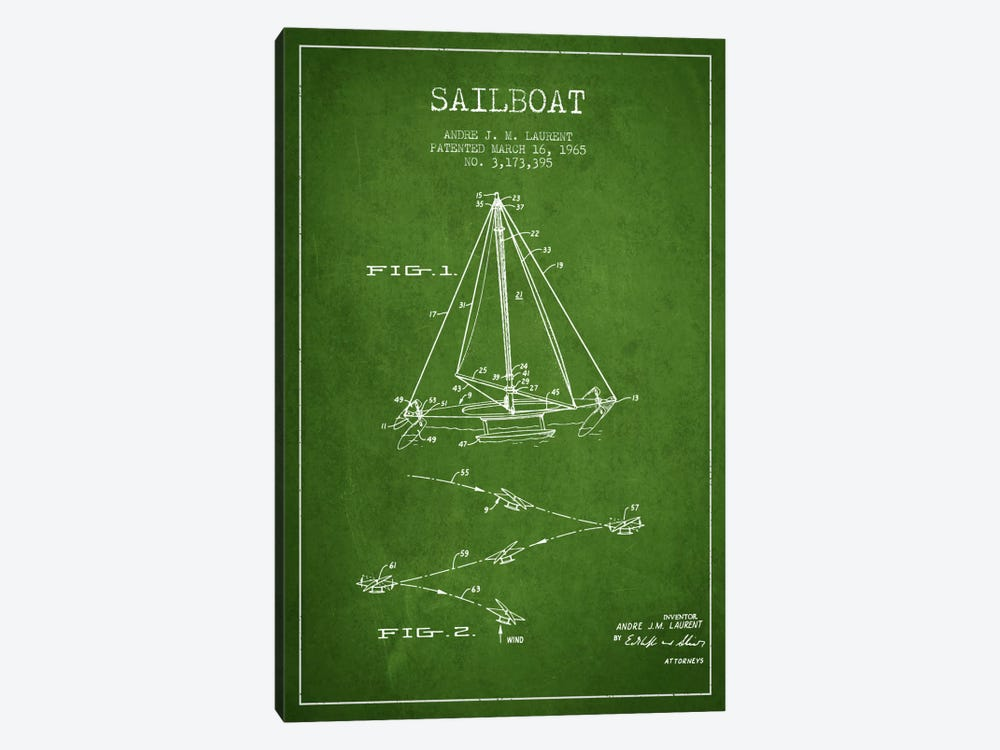 Double Ended Sailboat Green Patent Blueprint by Aged Pixel 1-piece Canvas Art