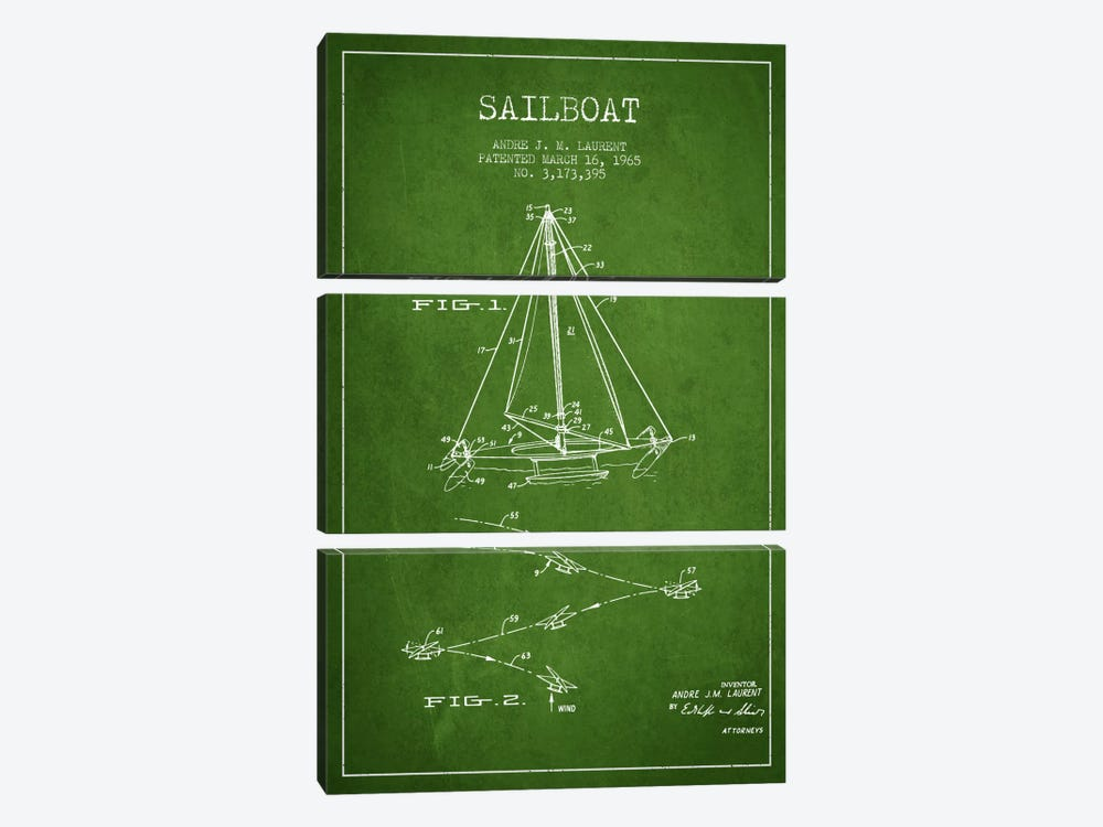 Double Ended Sailboat Green Patent Blueprint by Aged Pixel 3-piece Canvas Artwork