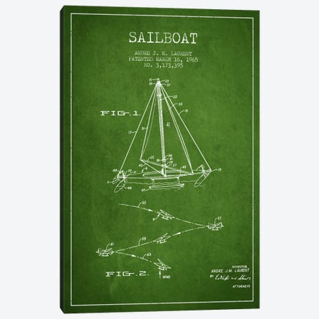 Double Ended Sailboat Green Patent Blueprint Canvas Print #ADP2741} by Aged Pixel Canvas Print