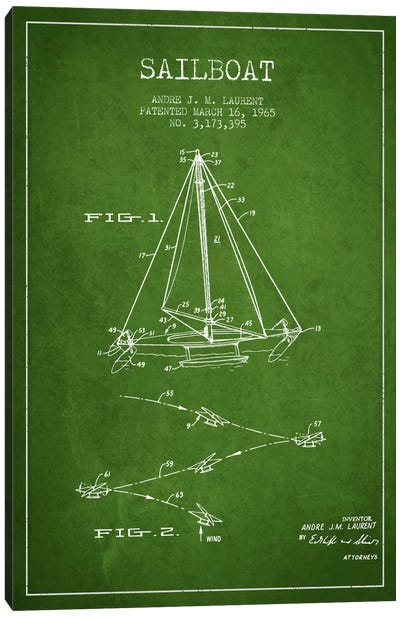 Double Ended Sailboat Green Patent Blueprint Canvas Art Print