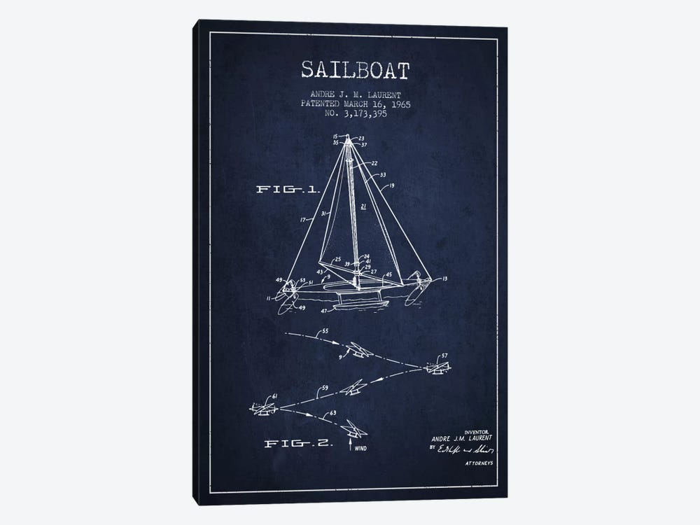 Double Ended Sailboat Navy Blue Patent Blueprint by Aged Pixel 1-piece Canvas Print