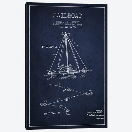 Double Ended Sailboat Navy Blue Patent Blueprint Canvas Print #ADP2742} by Aged Pixel Canvas Art Print